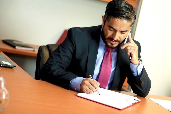 lawyer on a phone call