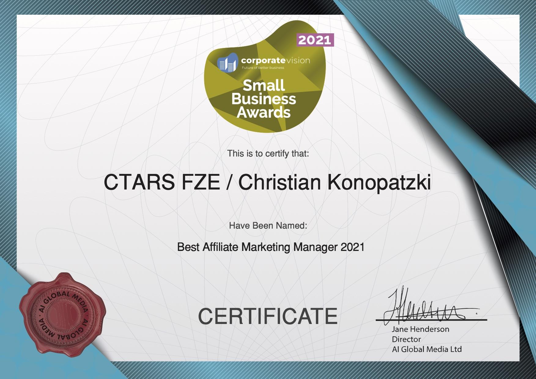 Christian Konopatzki Awarded the Best Affiliate Marketer for 2021